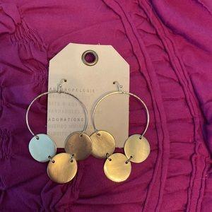 NWT Anthropologie Gold Hoop Earrings
